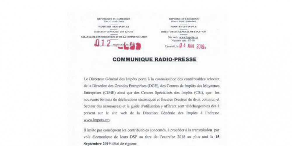 COMMUNIQUE RADIO-PRESSE DE LA DGI
